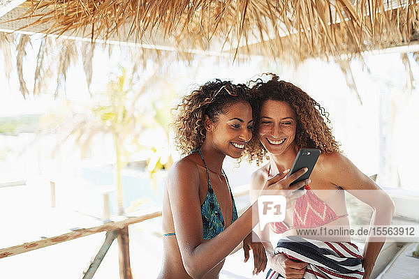 Happy young women friends using smart phone on sunny beach hut patio