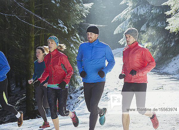 Friends jogging in snow