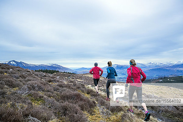 Friends jogging along mountain trail