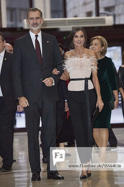 King Felipe VI of Spain  Queen Letizia of Spain attended '28th Musical Week' closing concert at Principe Felipe Auditorium on October 17  2019 in Oviedo  Spain