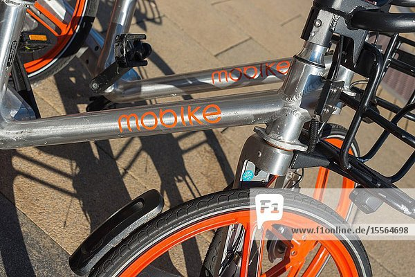 Mobike  founded by Beijing Mobike Technology Co.  Ltd.  is a fully station-less bicycle-sharing system. Bikes seen in Cambridge  England  UK.