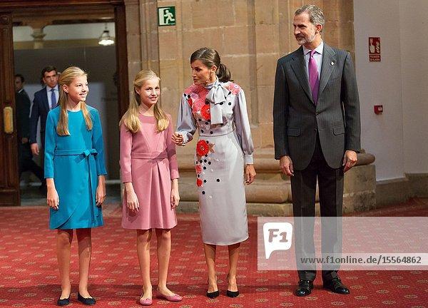 18.10.2019 Oviedo  Asturias  Spain. Delivery of the Princess of Asturias Awards. In the Hotel Reconquista Theater of Oviedo