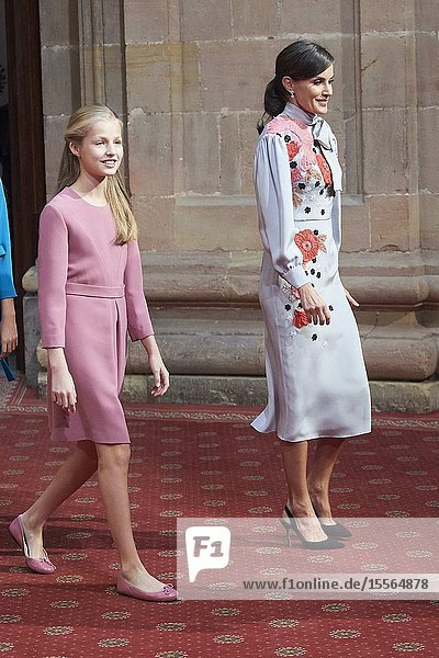 Queen Letizia of Spain  Crown Princess Leonor attended Audience with Winners of the 2019 Asturias Medals at Reconquista Hotel on October 18  2019 in Oviedo  Spain