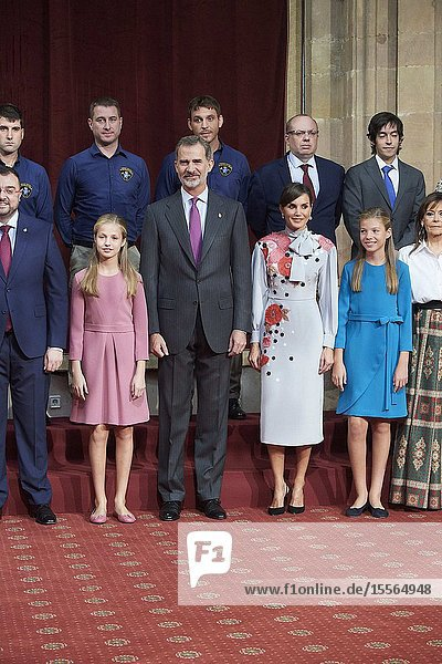 King Felipe VI of Spain  Queen Letizia of Spain  Crown Princess Leonor  Princess Sofia attended Audience with Winners of the 2018 Final Degree Awards of the University of Oviedo at Reconquista Hotel on October 18  2019 in Oviedo  Spain