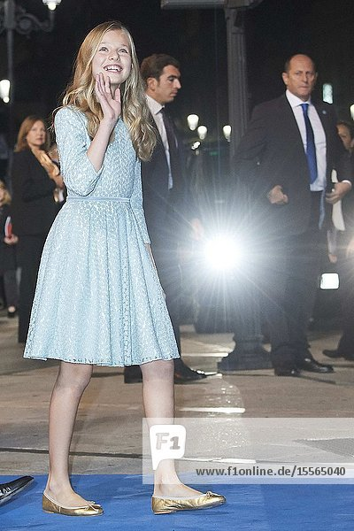 King Felipe VI of Spain  Crown Princess Leonor leaved Campoamor Theater after Princesa de Asturias Award 2019 ceremony on October 18  2019 in Oviedo  Spain