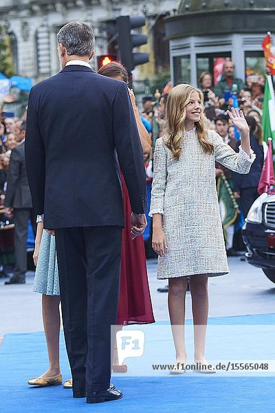 King Felipe VI of Spain  Queen Letizia of Spain  Crown Princess Leonor  Princess Sofia  The former Queen Sofia arrived to Campoamor Theater for the Princesa de Asturias Award 2019 ceremony on October 18  2019 in Oviedo  Spain