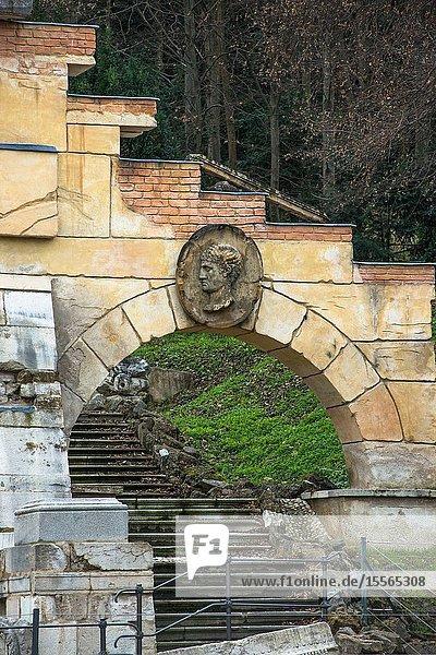 Römische Ruine are false Roman ruins created by Ferdinand von Hohenberg in 1778 in the gardens of Schönbrunn palace gardens  Vienna  Austria.