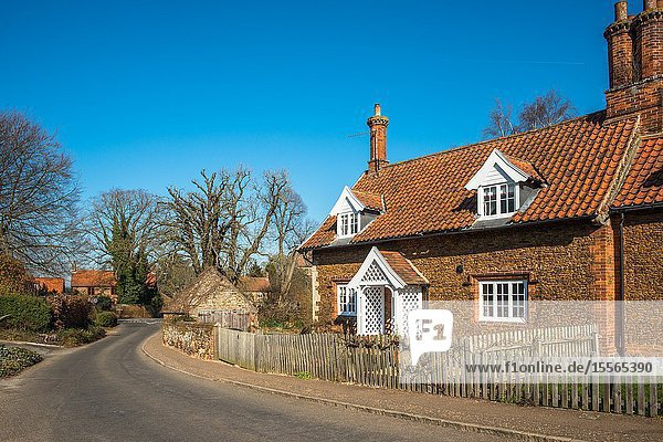 Characterful cottages in the village of Castle Rising in Norfolk  East Anglia  England  UK.