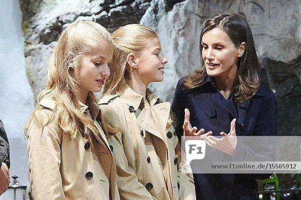 King Felipe VI of Spain  Queen Letizia of Spain  Crown Princess Leonor  Princess Sofia visited 2019 Exemplary Asiegu (Cabrales) on October 19  2019 in Asiegu  Spain