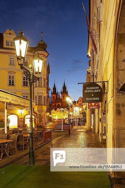 Dawn in Prague old town  Czechia.