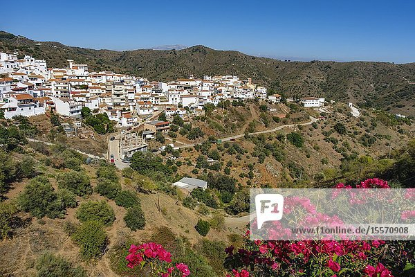 White village of Moclinejo  Axarquia mountains. Malaga province. Southern Andalusia  Spain. Europe.