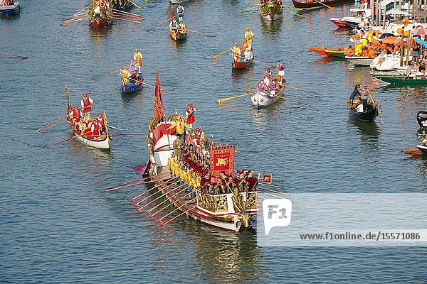 The boats of the historical procession for the historical regatta on the Grand canal of Venice  Italy  Europe.
