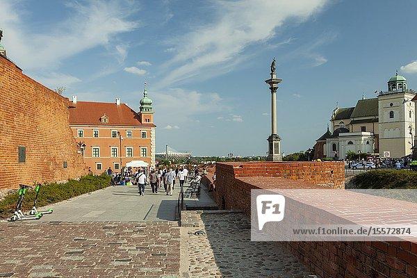 Summer afternoon at Warsaw city walls  Poland.