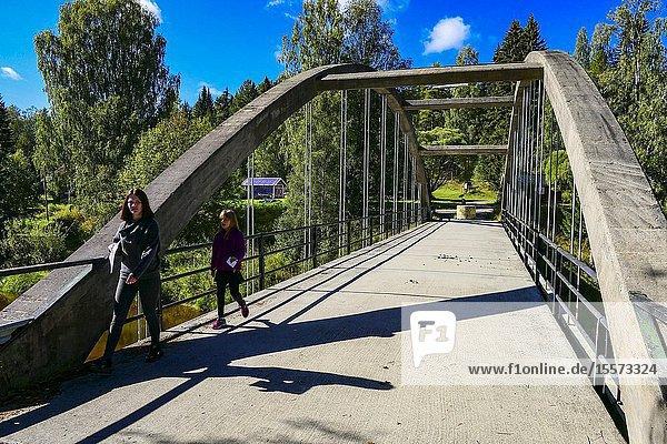 Logdo Bruk  Sweden Schoolchildren on a bridge in this iron foundry village from the 1650s.