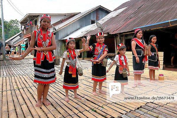 Celebrating Gawai with traditional costume at long house near kuching city  Sarawak  Malaysia
