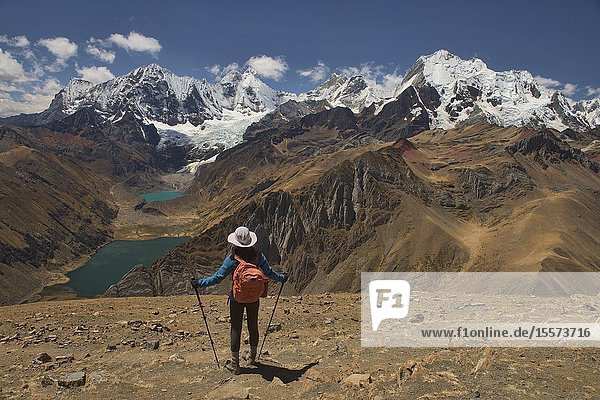 Epic views from Cerro Huacrish on the Cordillera Huayhuash circuit  Ancash  Peru.