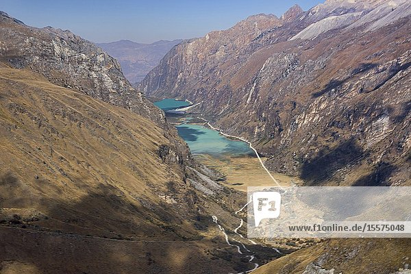 The Llanganuco lakes of Chinancocha and Orconcocha seen from Portachuelo Pass  Cordillera Blanca  Ancash  Peru.