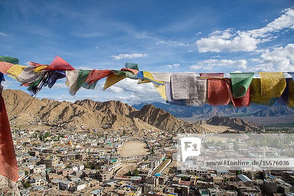 View at Leh with prayer flags  Ladakh  India from old Palace at top of hill