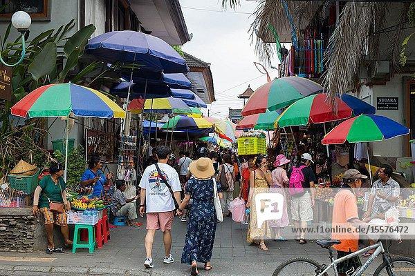 Bali  Indonesia  Sept 20  2019 Crowded market at Ubud city colorful.