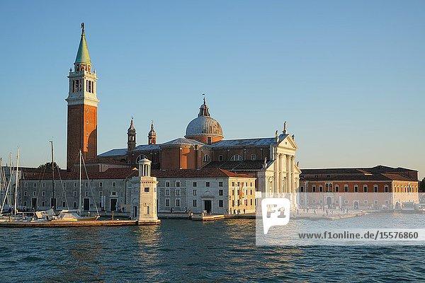 San Giorgio Basilica and island seen from the ferry  Venice lagoon  Venice  Italy  Europe.