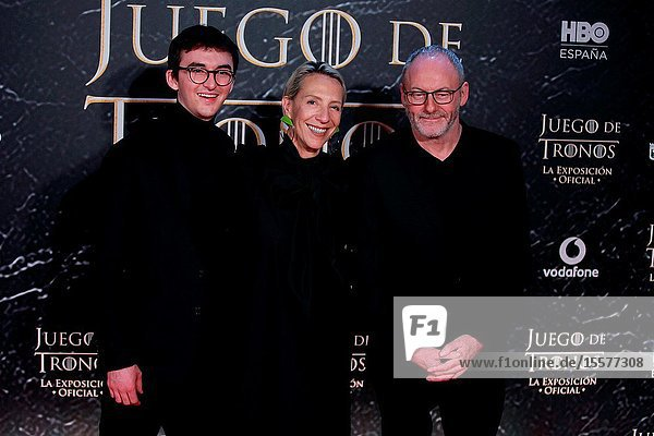 The actors Isaac Hempstead-Wright  Liam Cunningham and Costume designer Michelle Clapton attend the photocall exhibition Game of Thrones..October 24  2019 Madrid.