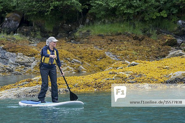 Senior women paddle boarding in Takatz Bay on Baranof Island  Tongass National Forest  Alaska  USA.