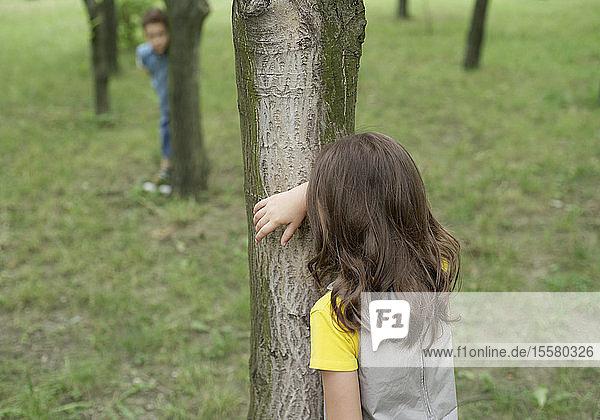 Rumänien  Verstecken spielende Kinder