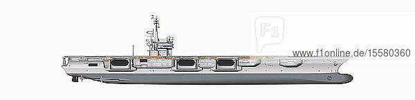 Illustration eines Flugzeugträgers vor weißem Hintergrund,  Nahaufnahme