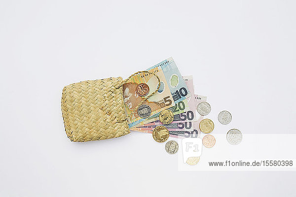Notes and coins in flax on white background