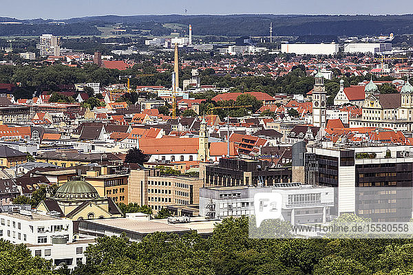 Aerial view of Augsburg cityscape during sunny day  Germany