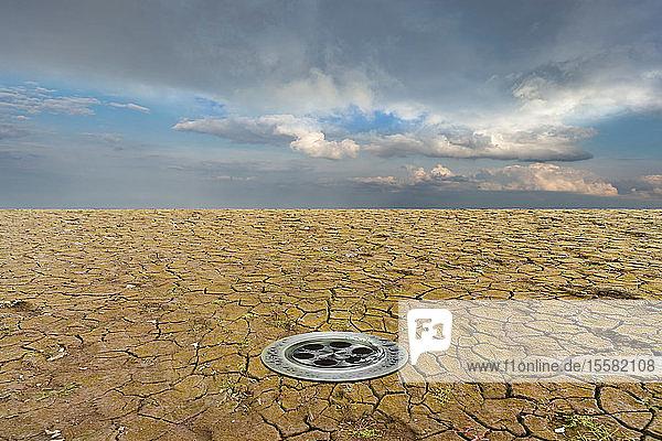 Trockene rissige Erde eines Sees  3D-Rendering
