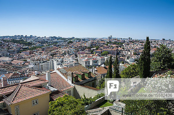 View of cityscape from Castelo Sao Jorge in Lisbon  Portugal