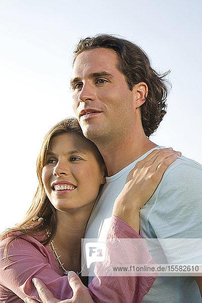 Couple embracing  close-up