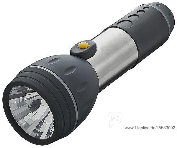 Taschenlampe auf weißem Hintergrund  Nahaufnahme