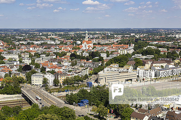 Aerial view of Augsburg cityscape against sky during sunny day  Germany