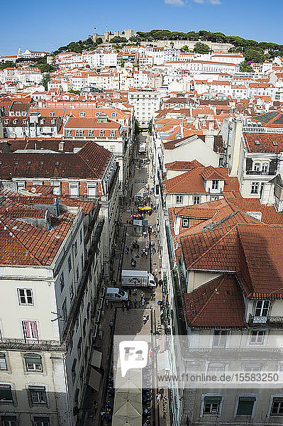 Overhead view of cityscape in Lisbon  Portugal