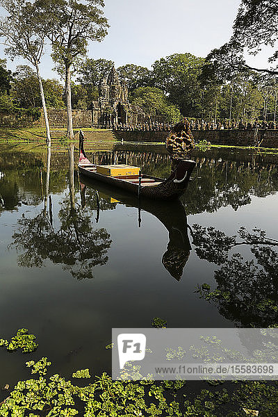 Cambodia  boat on lake at temple at Angkor Thom