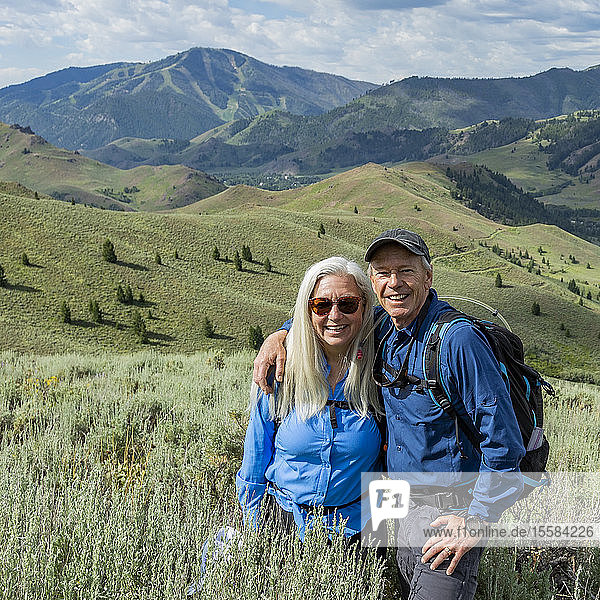 Smiling couple hiking in Sun Valley  Idaho  USA