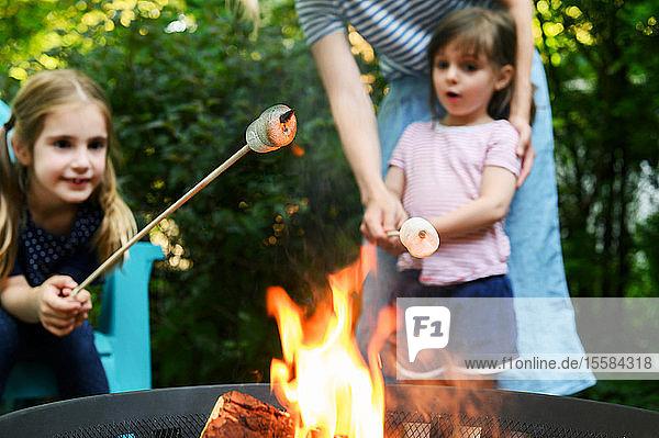 Familie röstet Marshmallows über einem Kohlenbecken
