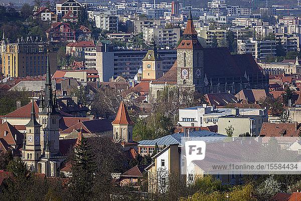 Cityscape with churches in Brasov  Romania