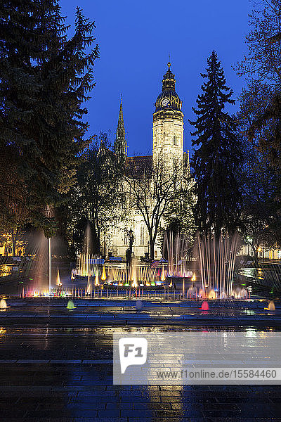Fountain by St. Elisabeth Cathedral at night in Kosice  Slovakia