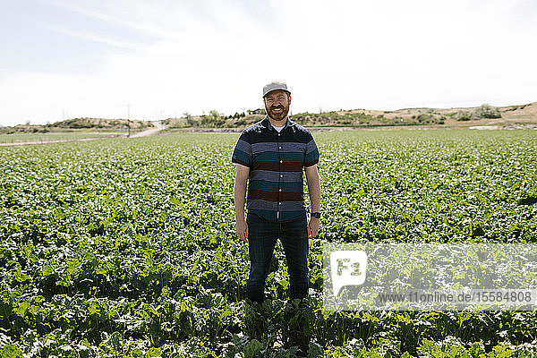 Smiling mid adult man in crop field