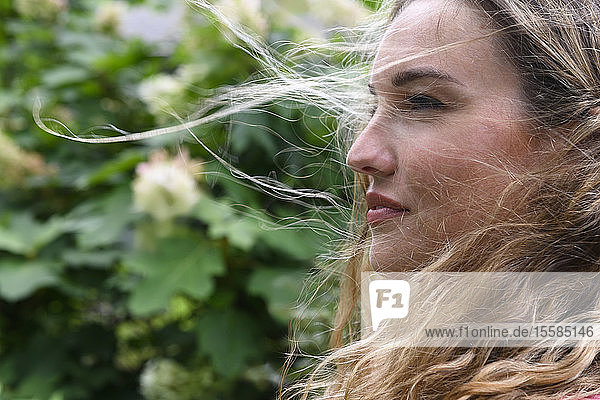 Portrait of windswept young woman