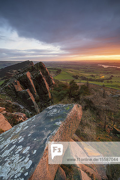 Gritstone formations at The Roaches  Peak District National Park  Staffordshire  England  United Kingdom