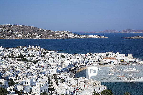 Mykonos Town and Harbor  Mykonos Island  Cyclades Group  Greek Islands  Greece