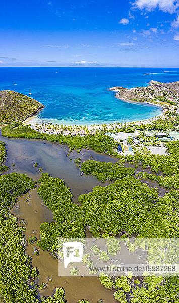 Aerial panoramic by drone of Carlisle Bay Beach  Antigua  Leeward Islands  West Indies  Caribbean