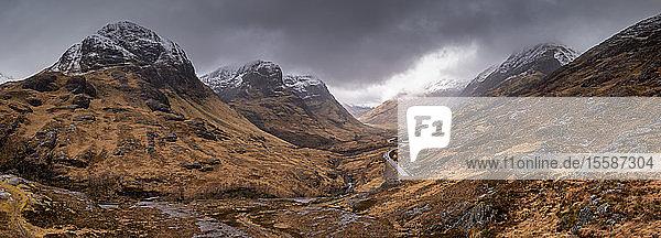 The Three Sisters of Glencoe from the Sanctuary in winter  Glencoe  Highlands  Scotland  United Kingdom