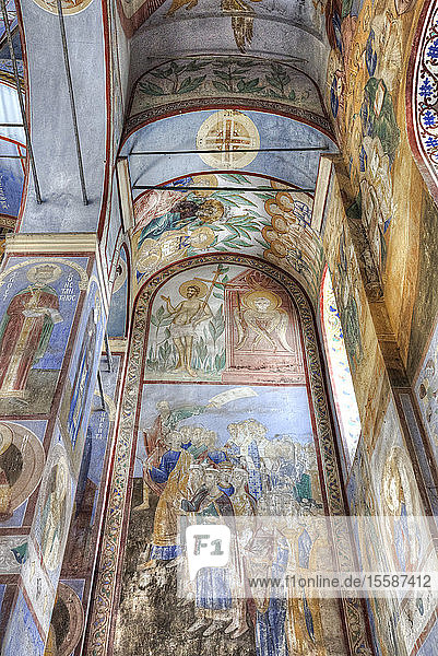 Frescoes  Church of the Nativity of the Virgin  built 1158  UNESCO World Heritage Site  north of Vladimir  Russia