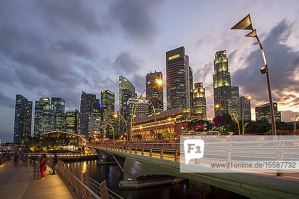 The Fullerton Hotel and The Financial District at night  Singapore