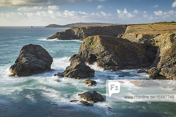 Dramatic coastal scenery near Trevose Head on the North Cornish coast  Cornwall  England  United Kingdom